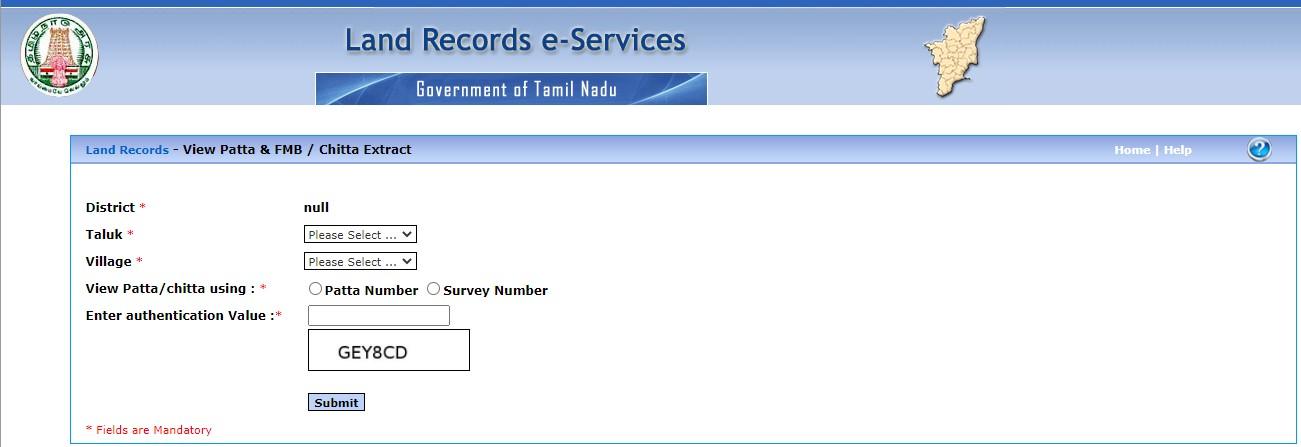 Patta Chitta Online Status Tamilnadu Tamil